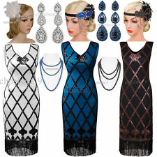 Vintage Great Gatsby 1920s Flapper Dress Sequin Bead Party Cocktail Prom Costume