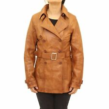 Ladies Brown Tan Classic Hip Length Double Breast Belted Long Sleeve Trench Coat