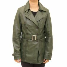 Ladies Green Classic Hip Length Double Breast Belted Long Sleeve Trench Jacket