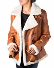 Women's Brown Tan with Cream Shearling Sheepskin Double Breast Pea Coat Jacket