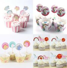 Unicorn Cupcake Toppers Birthday Cake Topper Wrapper Set