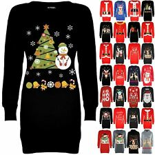 Womens Christmas Fleece Snowman Tree Jumper Ladies Tunic Sweatshirt Mini Dress