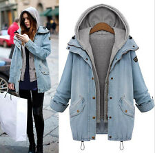 Winter Lady Warm Collar Hooded Long Coat Jacket Denim Trench Parka Outwear New