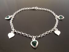 925 Sterling Silver Charm Bracelet Or Ankle Chain Anklet ~ Green & Plain Heart