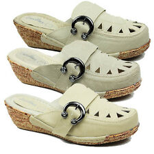 WOMENS LADIES CASUAL LOW WEDGE HEEL SLIP ON BUCKLE MULES CLOGS SANDALS SIZE 3-8