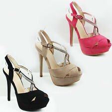 WOMENS LADIES STRAPPY PLATFORM PEEP TOE HIGH STILETTO HEEL SHOES SANDALS SIZE 3-