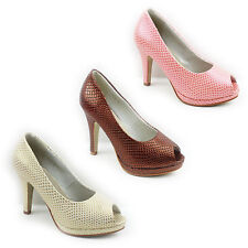 NEW WOMENS LADIES PLATFORM MID HIGH HEEL PEEP TOE COURT SHOES SANDALS SIZE 3-8