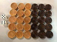 30 Backgammon Pieces Wooden Checkers + 2 Dice Wood Dark Brown & Natural