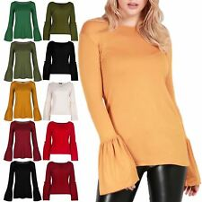 Womens Peplum Ruffle Ladies Round Neck Stretchy Frill Long Sleeve T Shirt Top