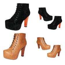 NEW WOMENS LADIES LACE UP PLATFORM BLOCK HIGH HEEL ANKLE BOOTS SHOES SIZE 3-8