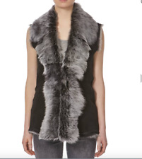 Ladies Black With Snow Tip Fur Waterfall Shearling Waistcoat Sleeveless Gilet