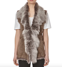 Ladies Cream Taupe Snow Tip Fur Waterfall Shearling Waistcoat Sleeveless Gilet