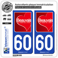 2 Stickers autocollant plaque immatriculation : 60 Beauvais - Ville