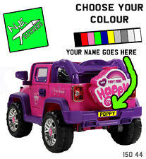 BACK ONLY personalised number plate: kids JEEP 12V electric car DUPLAY ride on
