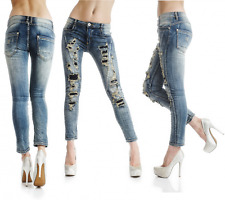 sexy nuovo donna ADERENTE BLU PANTALONI JEANS DESTROYED strappato look Y 519