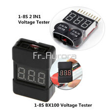 1-8S BX100 2 In1 Lipo Li-ion Battery Low Voltage Tester Buzzer Alarm Dual Speak