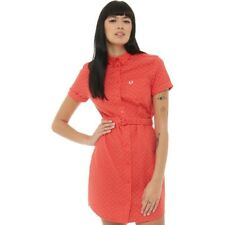 Fred Perry Womens Polka Dot Belted Shirt Dress Hibiscus Pink 8,10 UK