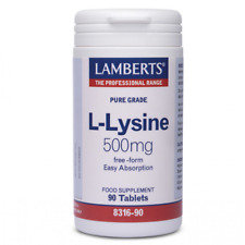 Lamberts Pure medical Grade L-Lysine 500mg. Free form for easy absorption