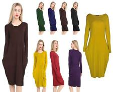 New Ladies women baggy Pocket  Party Cocktail Clubwear Midi Dress Tunic All Size