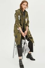 TOPSHOP Khaki Oversized Printed Flock Detail Parka | UK6-UK16 |