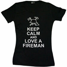 "NERA T-SHIRT DONNA "" Keep Calm and Love A FIREMAN "", Vigili Fuoco Lady Maglietta"
