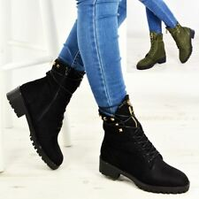 Womens High Top Boots Hiking Desert Combat Spike Ladies Ankle Work Shoes Size Uk