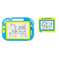 Magnetic Drawing Board 2 Pack Blue Yellow Colorful  2 Stampers Doodle Fun Carry