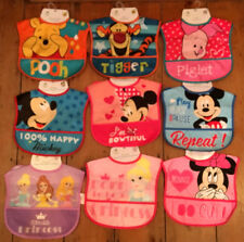 New Disney Pooh Piglet Tigger Mickey Minnie Mouse Princess Wipe Clean Baby Bib