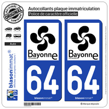 2 Stickers autocollant plaque immatriculation : 64 Bayonne - Tourisme