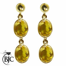 BJC 9 ct Oro Amarillo Natural Citrino Ovalado Doble Gota Colgante
