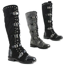 WOMENS LADIES KNEE HIGH BUCKLE STUDDED BIKER ARMY PUNK GOTH BOOTS SHOES SIZE 2-8