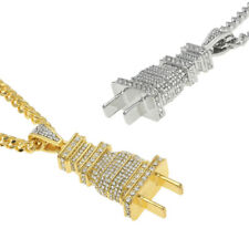 2633469417721g fully iced out diamond power plug pendant shock hip hop necklace chain gift aloadofball Images