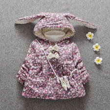 Baby Girls Floral Winter Jacket Infant Down Cotton Bow Outwear Hooded Coat Parka