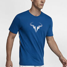 Nike COURT RAFAEL NADAL MEN'S T-SHIRT 100% Cotton, Blue Jay/Black