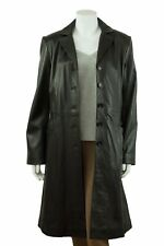 Ladies Black Long Trench Leather Fitted Long Biker Fashion 5 Button Coat Jacket