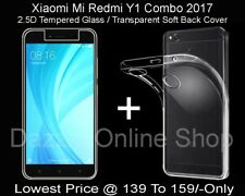 Tempered Glass & Transparent Soft Back Cover Combo Deal Mi Y1 , Redmi Y1 (2017)