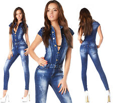 Sexy New Womens Denim Navy Blue Denim Jeans Jumpsuit Overall With Studs R 887