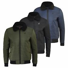 Mens Jacket Kangol Quilted Soft Touch Jacket Ultra Light Weight Winter Coat