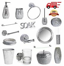 silver sparkle bathroom accessories. New Sparkley Silver Mosaic Bathroom Accessories  Toiletry Sets FREE DELIVERY 263364517822 1 jpg