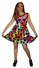 damen-multi Rainbow TOTENKÖPFE ROCKABILLY SWING Ärmelloses Kleid Gothic Punk Emo