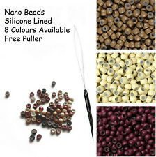 NANO RING BEADS SILICONE LINED Nano Tip Extensions 125/ 250/500 + FREE PULLER