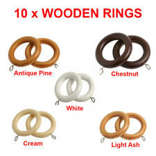 Speedy Wooden Curtain Pole Rings Easy Glide - 10 PACK - 5 Colours, 28mm