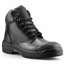 Mens Leather Army Combat Safety Steel Toe Cap Work Ankle Hiker Boots Shoes Size