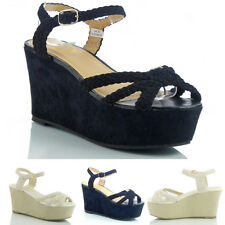 NEW WOMENS LADIES WEDGE HEEL SANDALS WEDGES SHOES SIZE 3 4 5 6 7 8