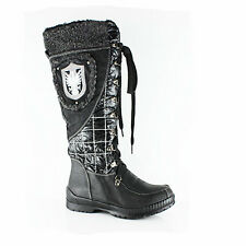 NEW WOMENS LADIES WINTER COMBAT MILITARY FLAT MID HIGH CALF BOOTS SHOES SIZE 3-8