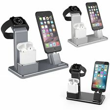 4in1 Alluminio Caricabatterie Dock Supporto Per Apple Watch AirPods iPhone X 8 7