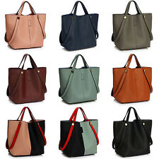 Donna Borsa a spalla mano da similpelle DOPPIA impugnature SHOPPING UK