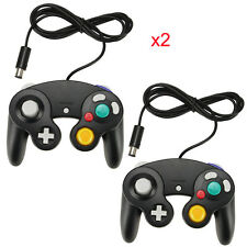 2X WIRED CLASSIC CONTROLLER JOYPAD GAMEPAD BLACK FOR NINTENDO GAMECUBE GC & Wii