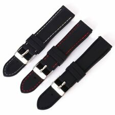 Black Silicone Rubber Band Watch Strap Buckle Bracelet Band 18 20 22 24mm