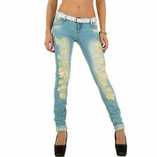 sexy nuovo donna ADERENTE BLU PANTALONI JEANS DESTROYED strappato look Inclusa